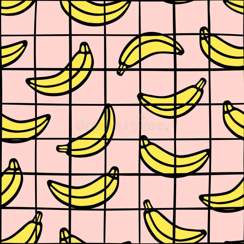 Grille à carreaux à la mode et modèle sans couture de banane Lignes tirées par la main noires sur le fond rose illustration stock