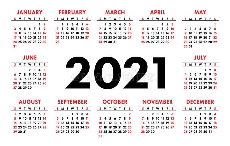 Grille De Base De Vecteur Du Calendrier 2021 Calibre De Conception