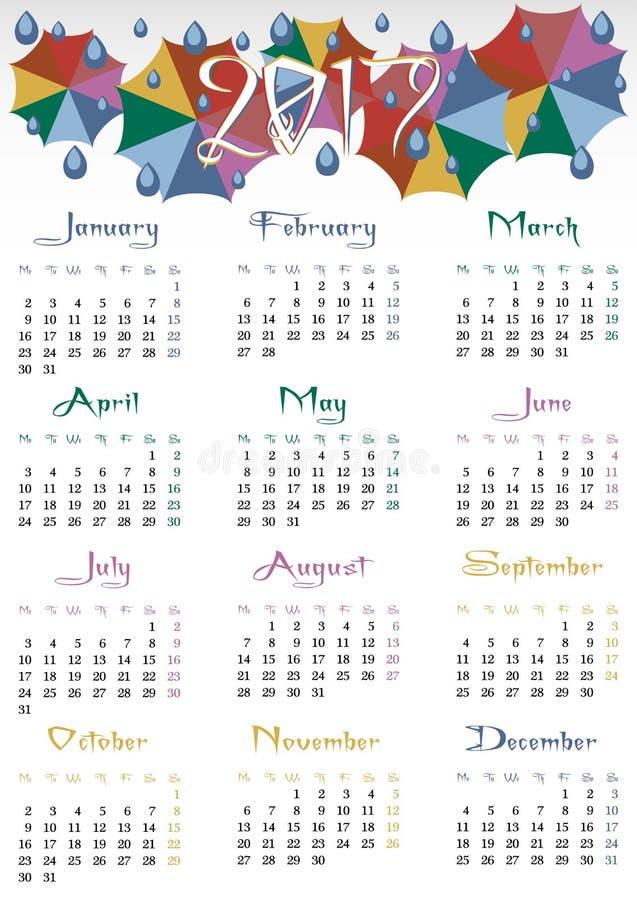 Grille de calendrier pour 2017 avec les parapluies colorés illustration stock