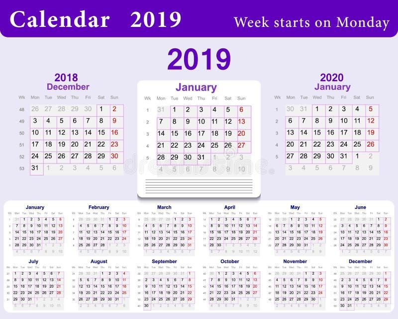 Grille de calendrier pour 2019 dans l'anglais Calibre de mur dans le bleu Débuts de semaine du lundi et à partir de décembre de l illustration stock