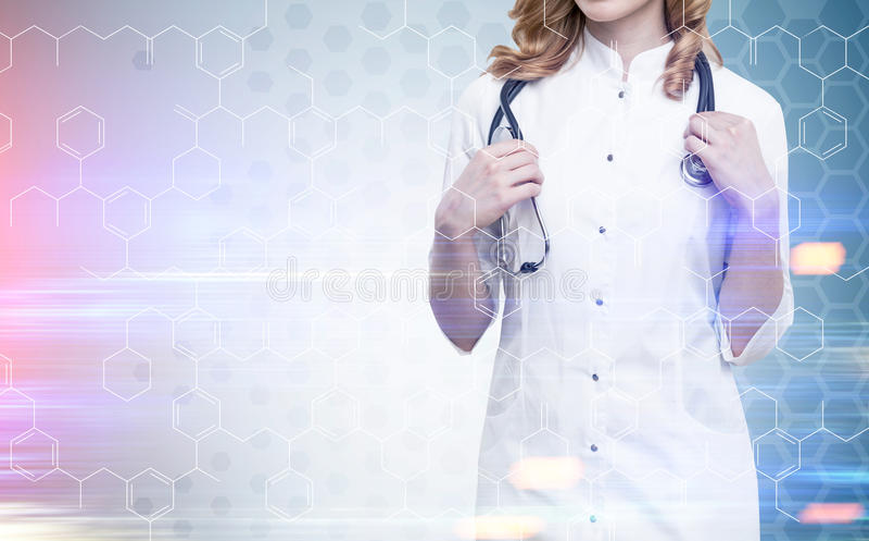 Grille de docteur et d'atome de gingembre modifiée la tonalité image libre de droits