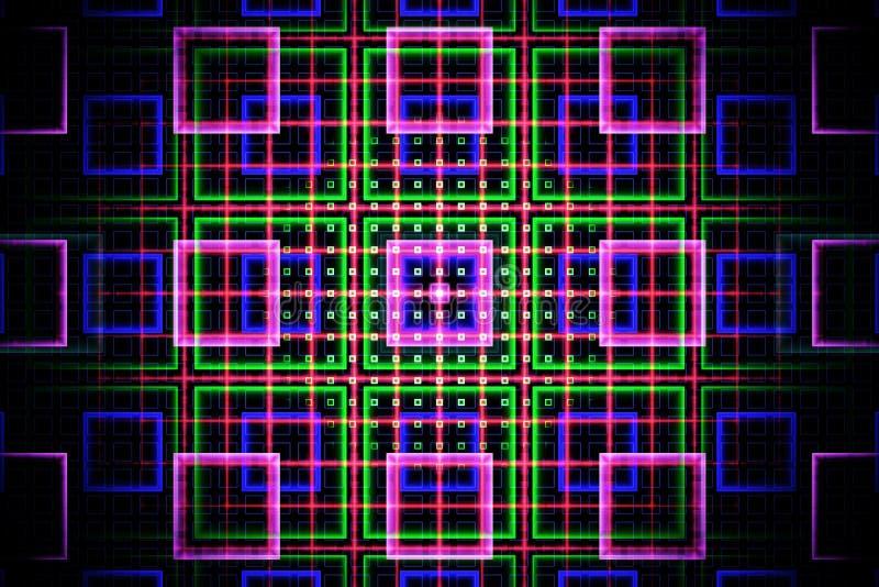 Grille de fractale avec les places lumineuses dans les couleurs au néon illustration libre de droits