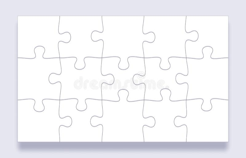 Grille de morceaux de puzzle Les tuiles denteuses, puzzles d'esprit rapiècent et des détails de puzzles avec le vecteur de cadre  illustration de vecteur