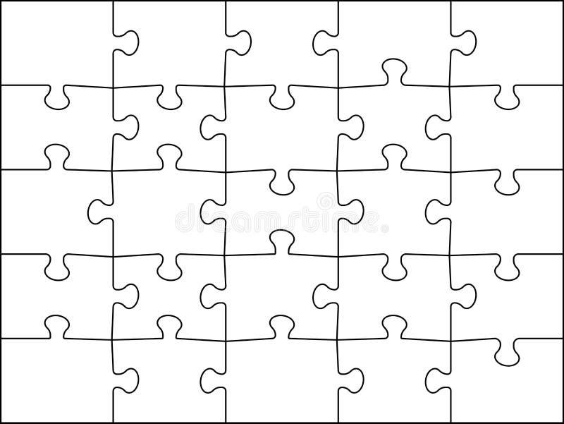 Grille des buses 5x5. Cadre de détail de jigsaws modèle 25 pièces. Illustration vectorielle du jeu de casse-tête de jiguille d illustration stock