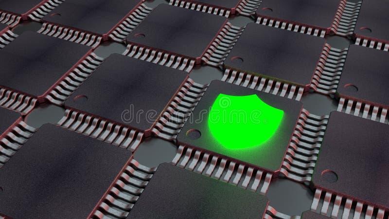 Grille des unités centrales de traitement noires avec le cybersecurity vert brillant d'icône de bouclier illustration libre de droits