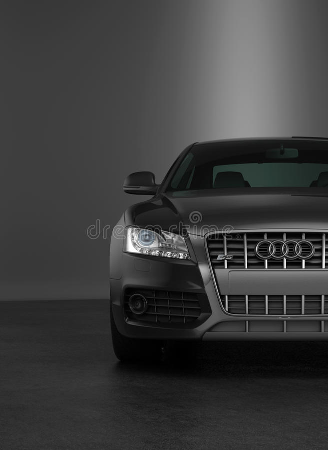 Grille and headlight of a modern Audi. Partial frontal view with the emblem, grille and headlight of a modern two tone metallic silver and black Audi luxury car royalty free illustration