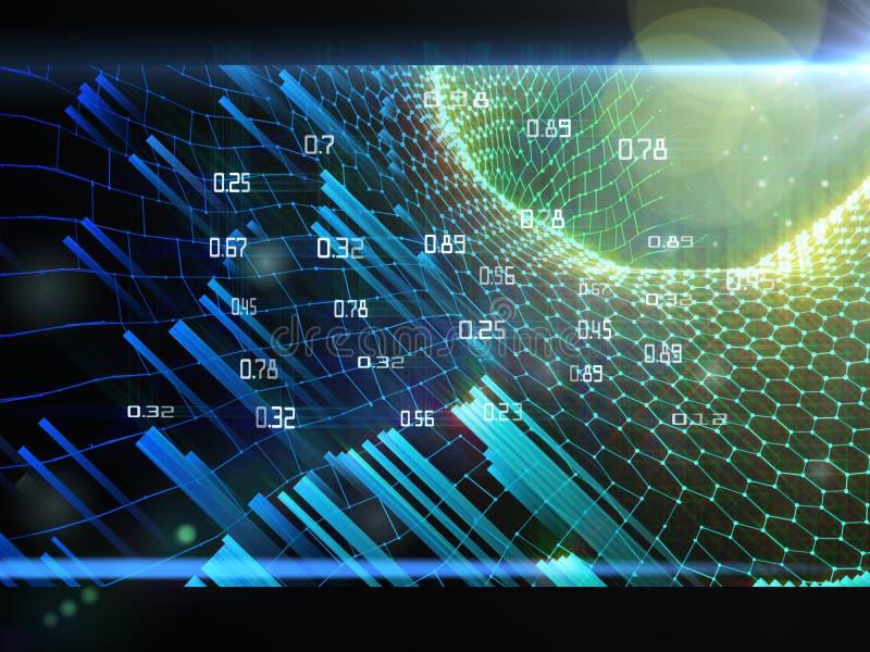 Grille infographic d'analyse de résumé avec le rayon de soleil sur le fond foncé Grandes donn?es Concept futuriste de données illustration stock