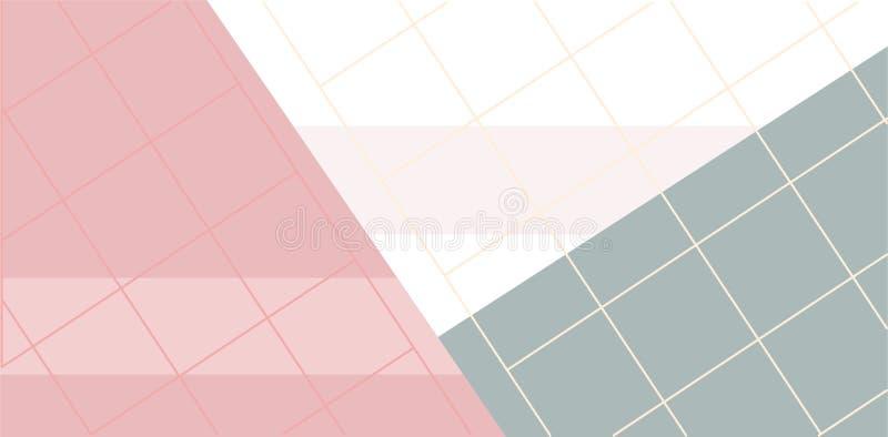 Grille linéaire avec des formes géométriques, places, triangle Fond d'art abstrait avec les éléments géométriques illustration libre de droits