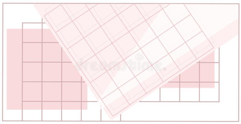 Grille linéaire avec des formes géométriques, places, triangle Fond d'art abstrait avec les éléments géométriques illustration stock