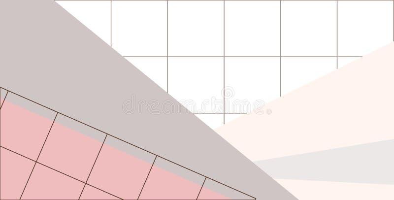 Grille linéaire avec des formes géométriques, places, triangle Fond d'art abstrait avec les éléments géométriques illustration de vecteur