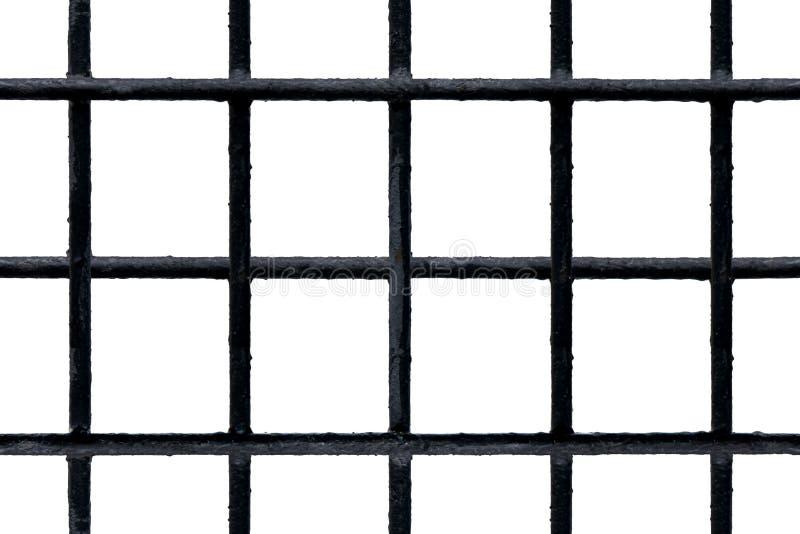 Grille noire sans couture en métal avec les barres peintes minables d'isolement sur le blanc images stock
