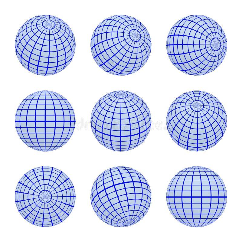 Grille réglée de la terre de globe de sphères de différents côtés illustration libre de droits