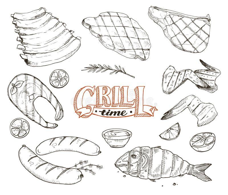 Grille ryba i spotkanie ilustracja wektor