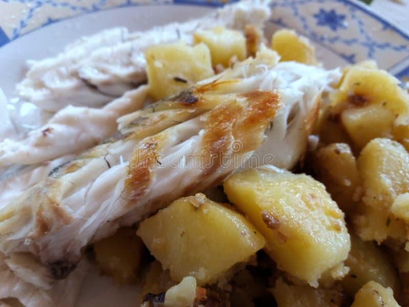 Grilled鲈鱼和potatoe文件在板材 库存照片