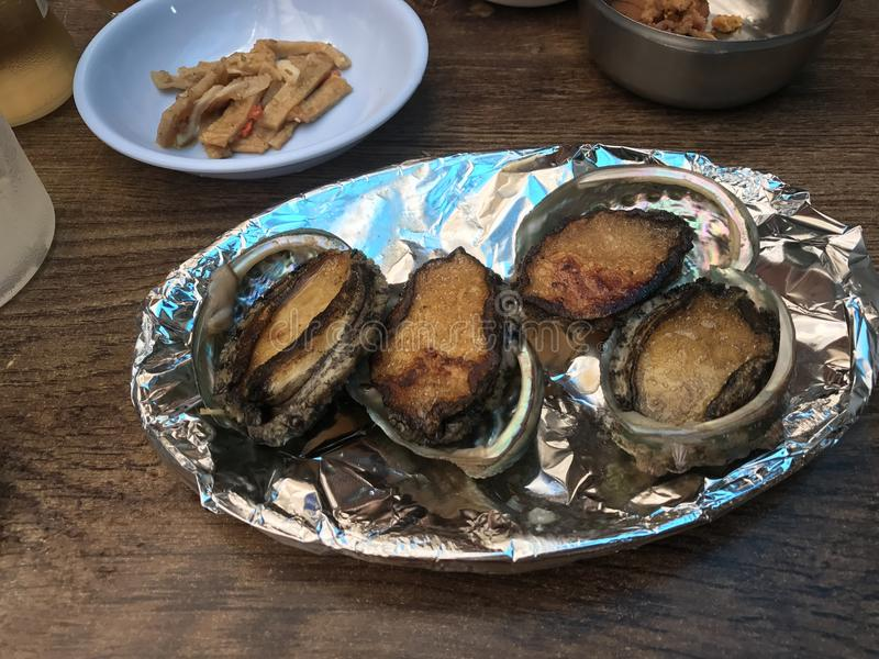 Grilled abalone:& x29; royalty free stock photos