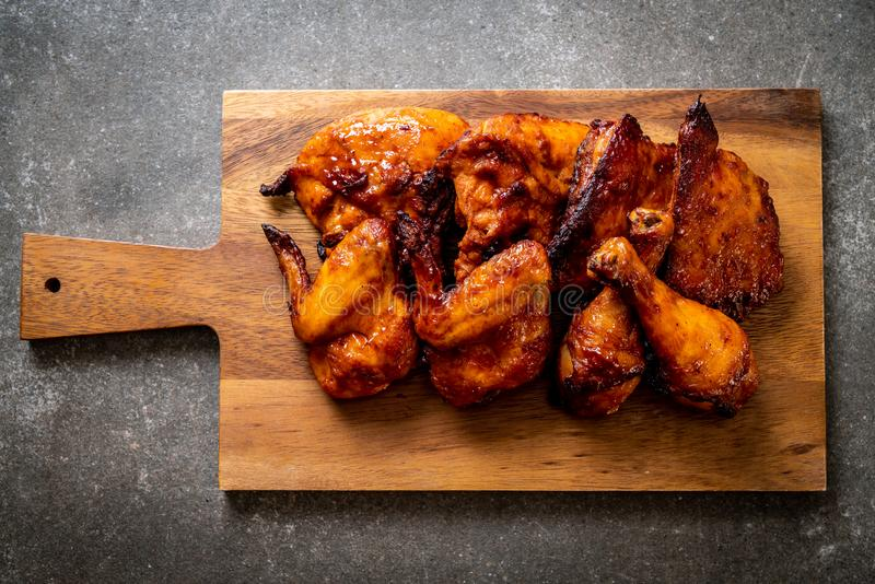 grilled and barbecue chicken stock photo