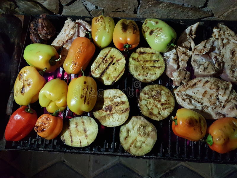 Grilled barbecue chicken and vegetables royalty free stock photography