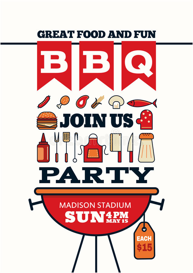 Grilled bbq party icon style for invitation car or flyer or post vector illustration