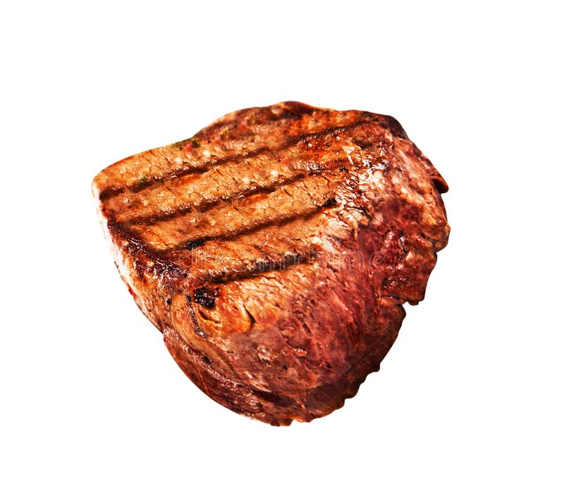 Grilled bbq steak on white royalty free stock photography