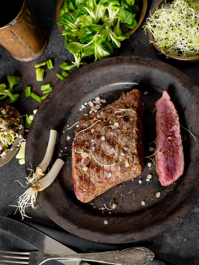 Grilled beef from above royalty free stock image