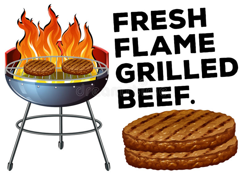 Grilled beef on the bbq stove. Illustration vector illustration