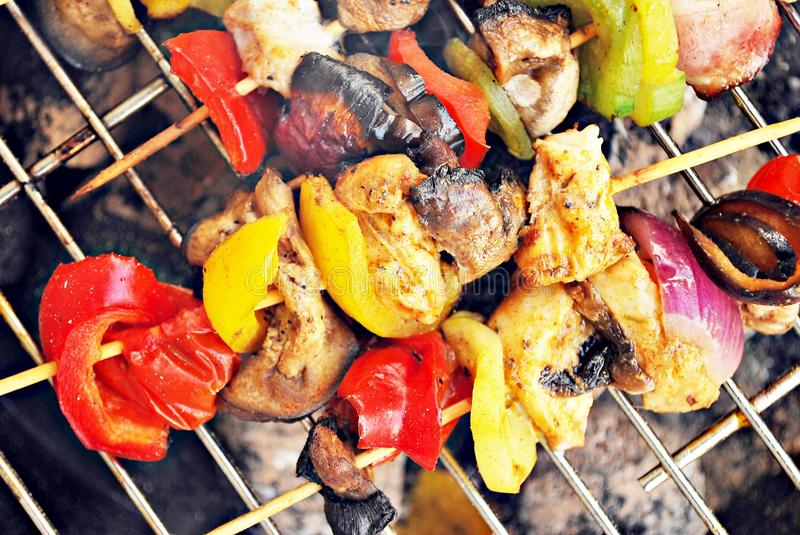 Grilled beef and chicken kebabs royalty free stock photo