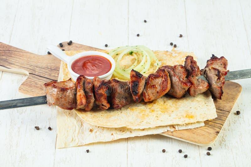 Grilled beef shashlic royalty free stock photos