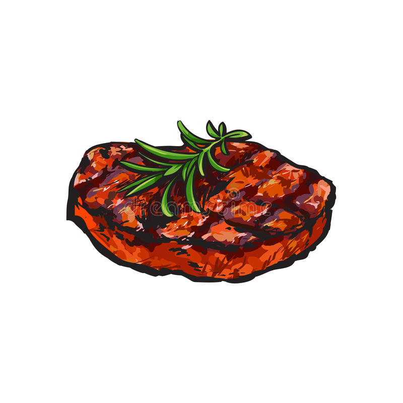 Grilled beef steak, beefsteak with rosemary. Sketch style vector illustration on white background. Realistic hand drawing of grilled piece, cut of meet, beef royalty free illustration