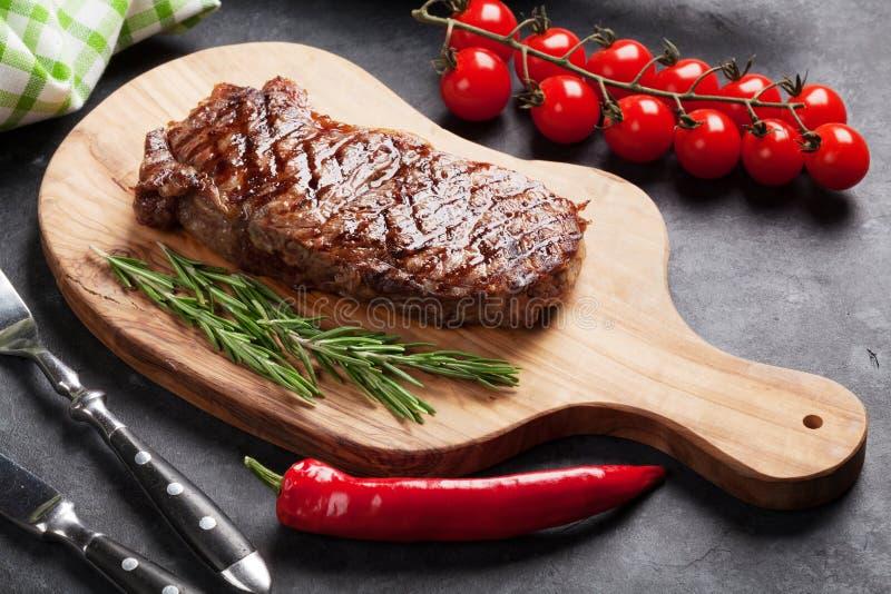 Grilled beef steak stock photos