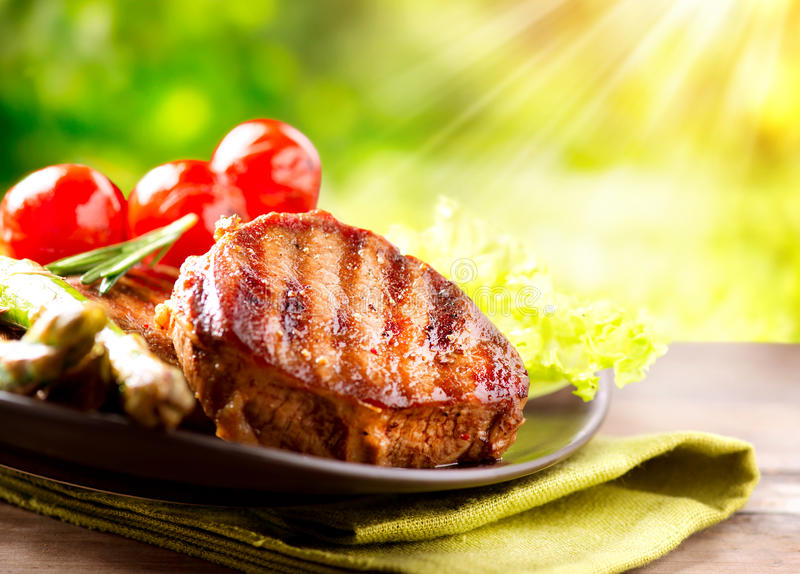 Download Grilled Beef Steak stock photo. Image of course, fried - 30227810