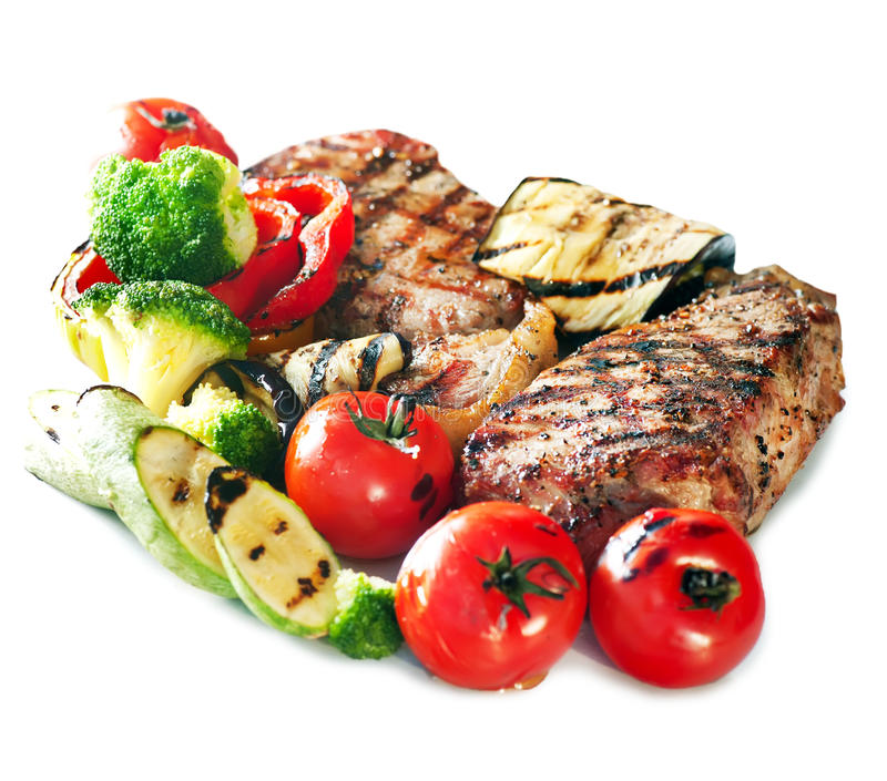 Grilled Beef Steak with Vegetables stock photo