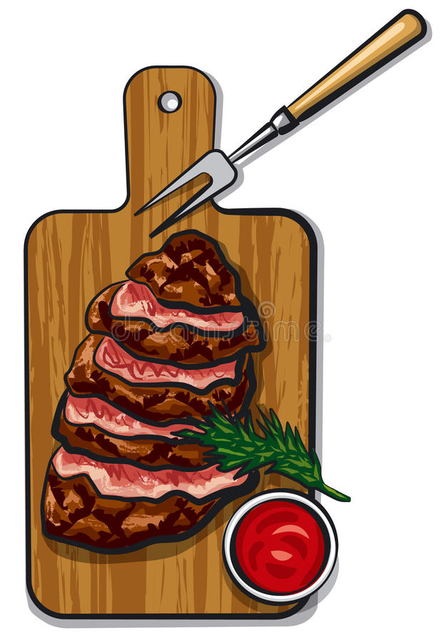 Grilled beef steaks. Illustration of grilled sliced beef steaks on wood board with tomato sauce stock illustration