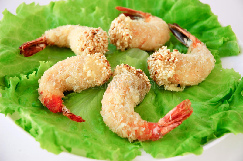 Grilled breading shrimps. Japanese cuisine - Tempura, grilled breading shrimps stock photography
