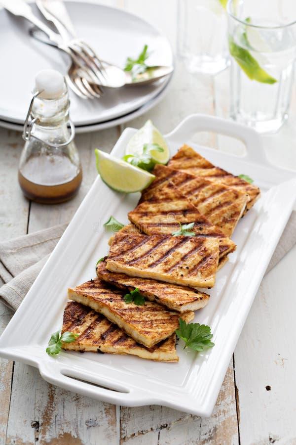 Grilled briet Tofu auf einer Platte lizenzfreie stockfotografie