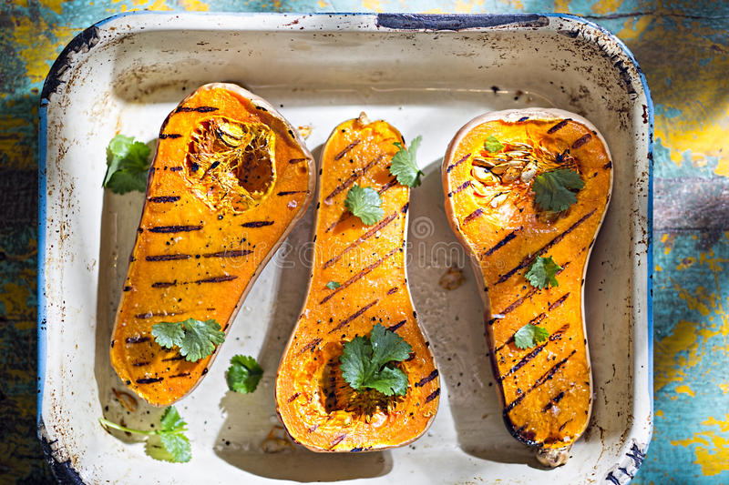 Grilled butternut squash stock photo