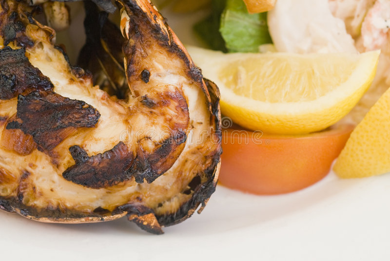 Grilled Caribbean Lobster Stock Image