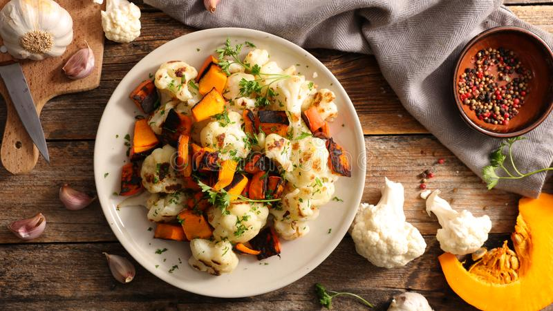 Grilled cauliflower and potimarron royalty free stock photo