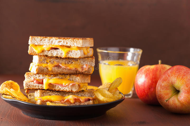 Grilled cheese and bacon sandwich.  royalty free stock photo