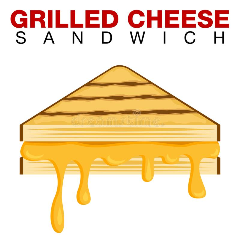 Grilled Cheese Sandwich Dripping Melting Cheese Isolated on Whit stock illustration