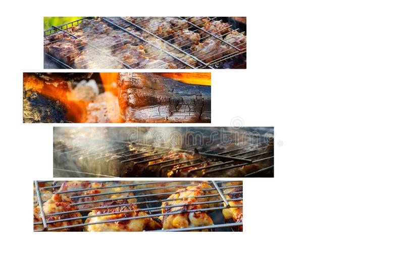 Grilled chicken Leg on Kebabs on the grill Collage of various meat products stock images