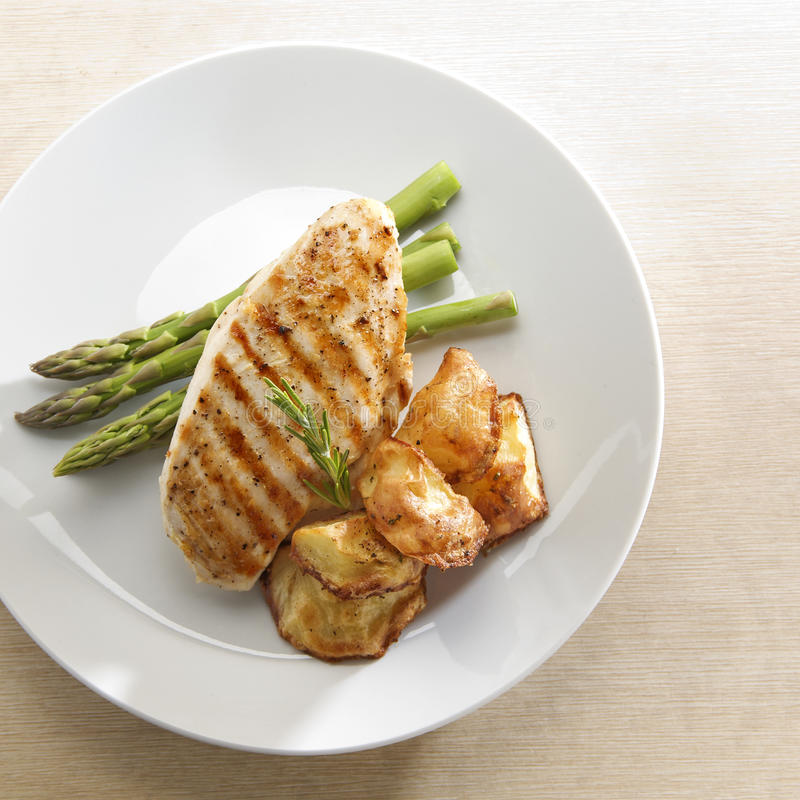 Grilled Chicken. Top view of grilled chicken with asparagus and roasted potatoes on white plate royalty free stock photo