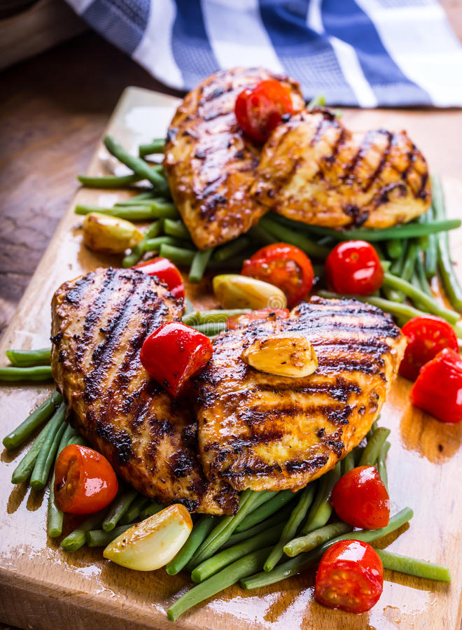Free Grilled Chicken Breast In Different Variations With Cherry Tomat Stock Photo - 60747970
