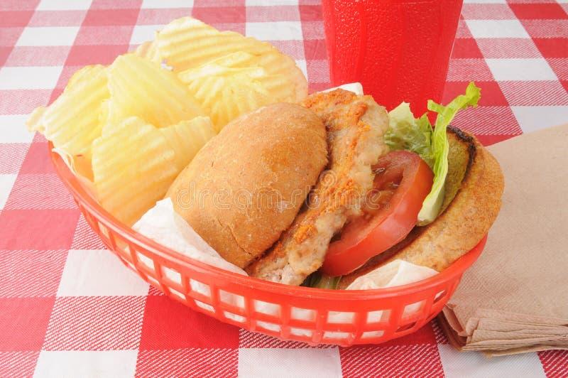 Grilled chicken burger stock photo