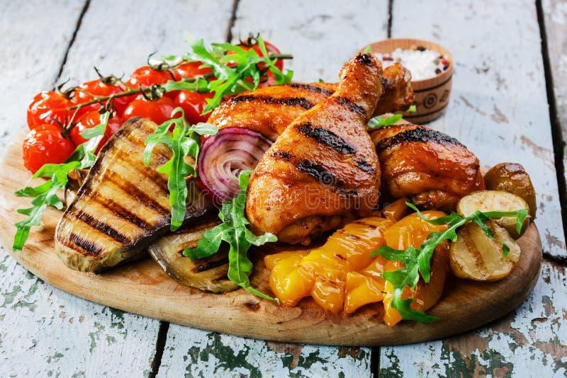 Grilled chicken drumstick stock photo