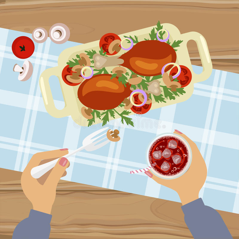 Grilled chicken and glass of cola stock illustration