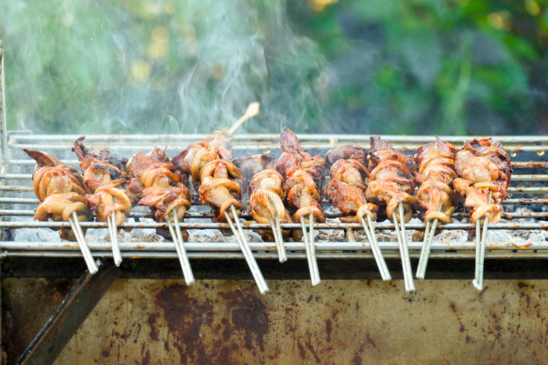 Grilled chicken innards marinated with spices skewer on the iron grill royalty free stock photography