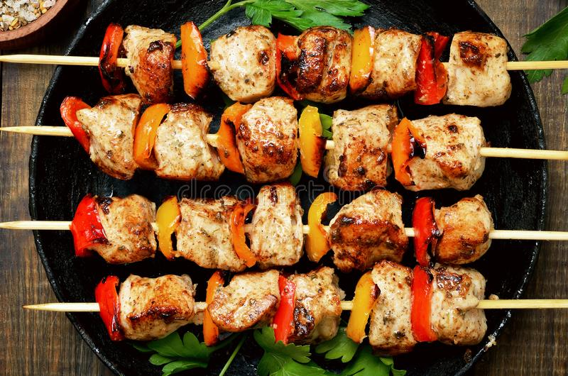 Grilled chicken kebab with bell pepper royalty free stock image
