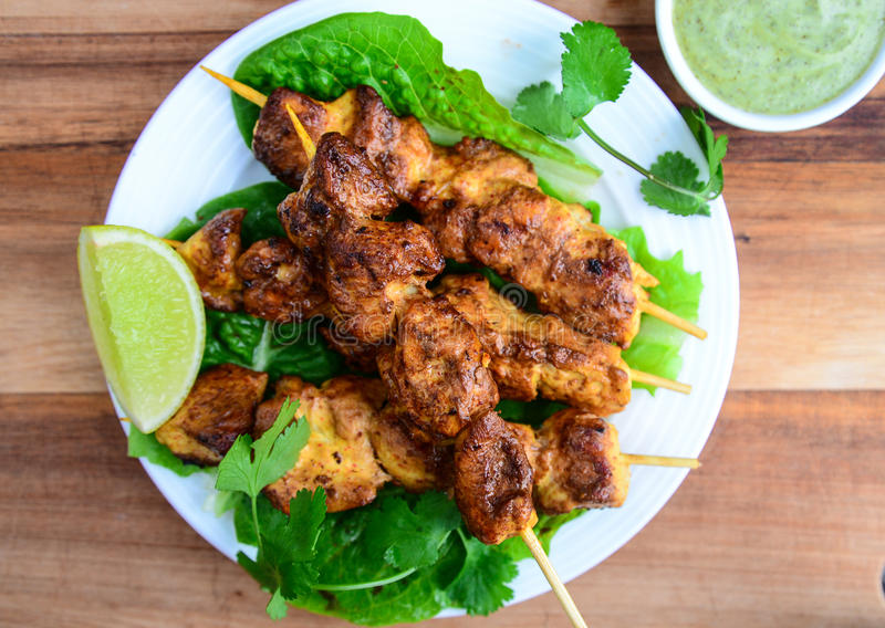 Grilled chicken kebabs stock photos