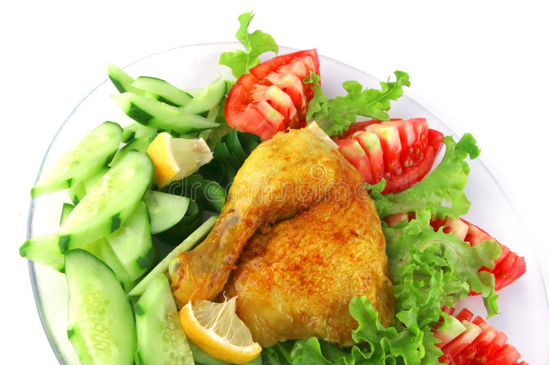 Download Grilled chicken leg stock photo. Image of barbeque, lettuce - 10532492