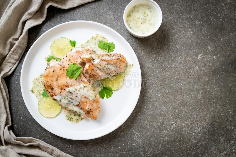 Grilled chicken with lemon lime sauce. Grilled chicken breast with lemon lime sauce royalty free stock photos